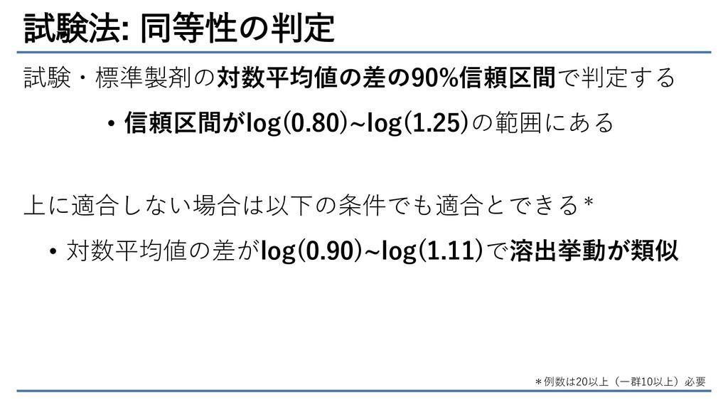 試験法: 同等性の判定 試験・標準製剤の対数平均値の差の90%信頼区間で判定する • 信頼区間...