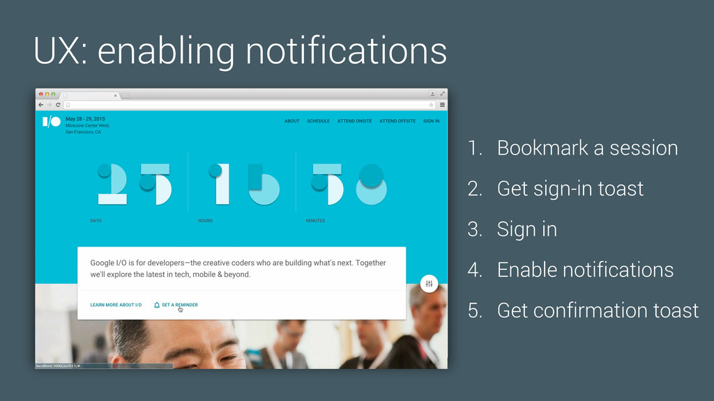 UX: enabling notifications 1. Bookmark a sessio...