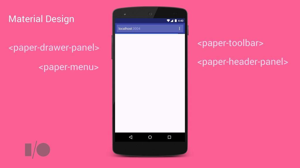 <paper-toolbar> <paper-drawer-panel> <paper-hea...