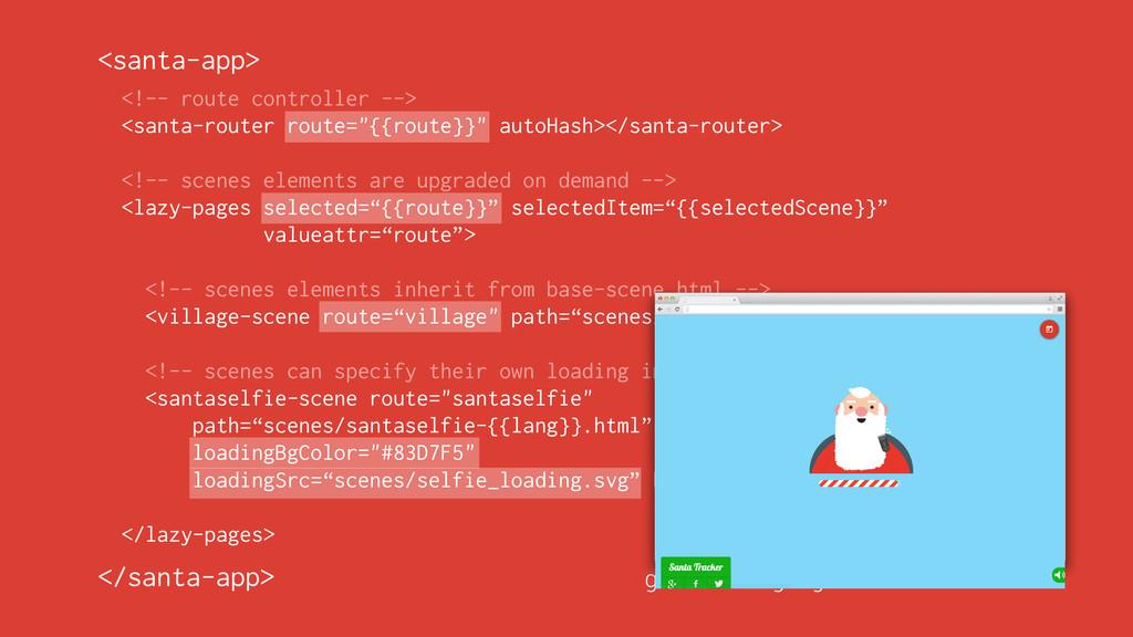 "<!-- route controller --> <santa-router route=""..."