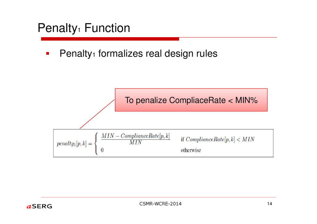 Penalty1 Function 14 To penalize CompliaceRate ...