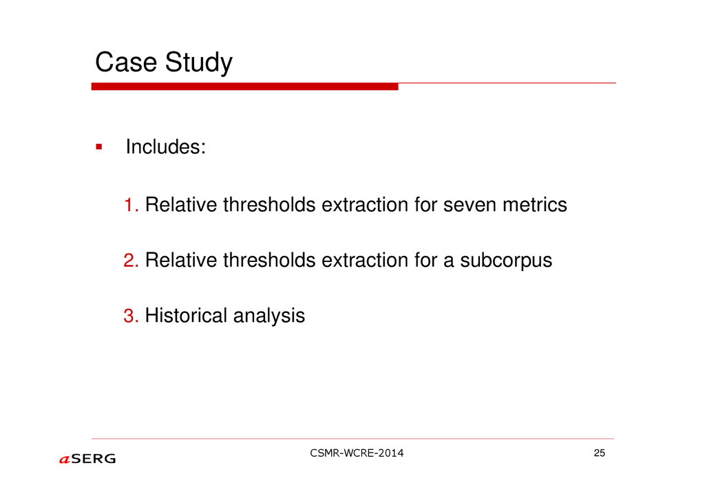 Case Study Includes: 1. Relative thresholds ext...