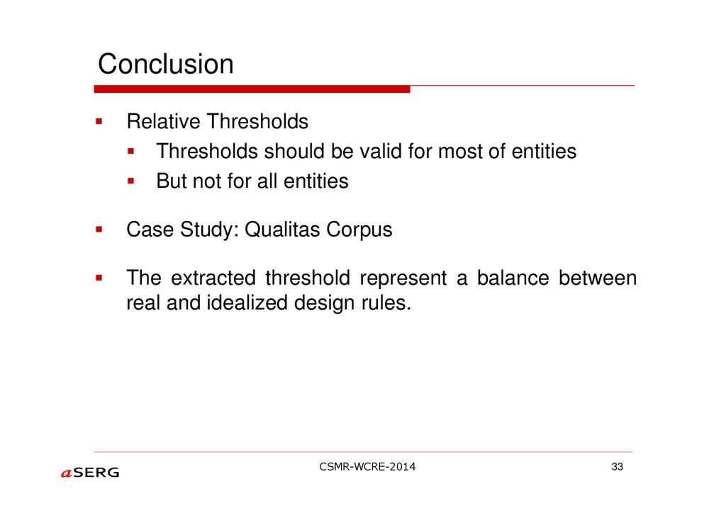 Conclusion Relative Thresholds Thresholds shoul...