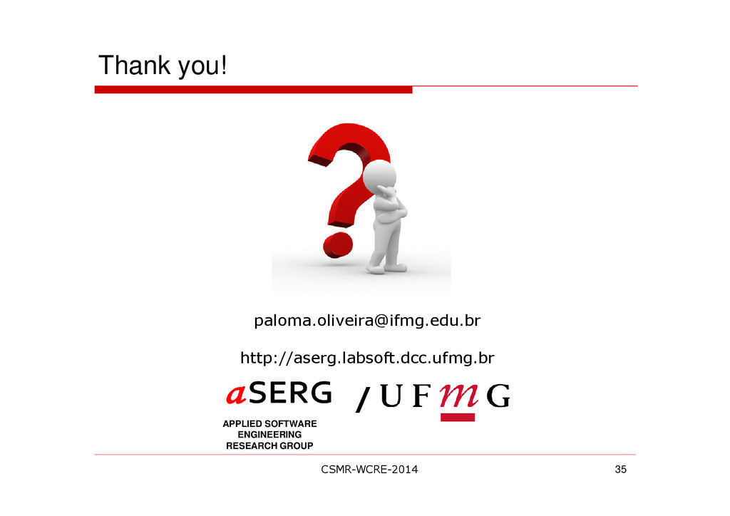 Thank you! 35 APPLIED SOFTWARE ENGINEERING RESE...