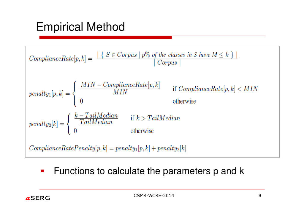 Empirical Method 9 Functions to calculate the p...