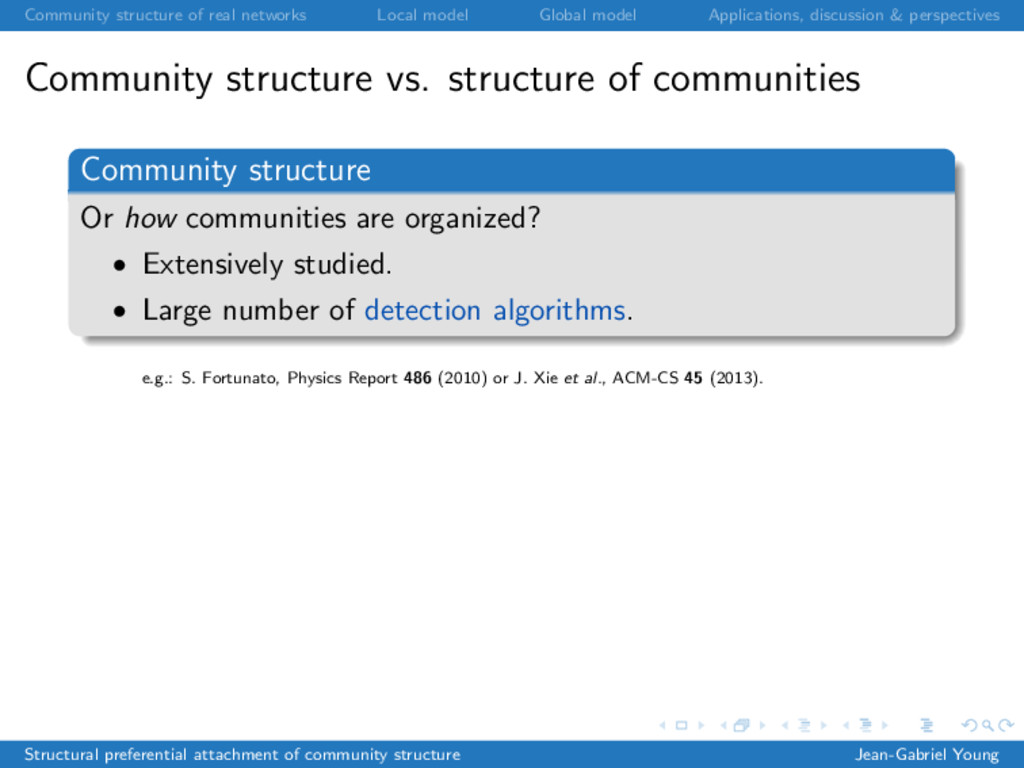 Community structure of real networks Local mode...