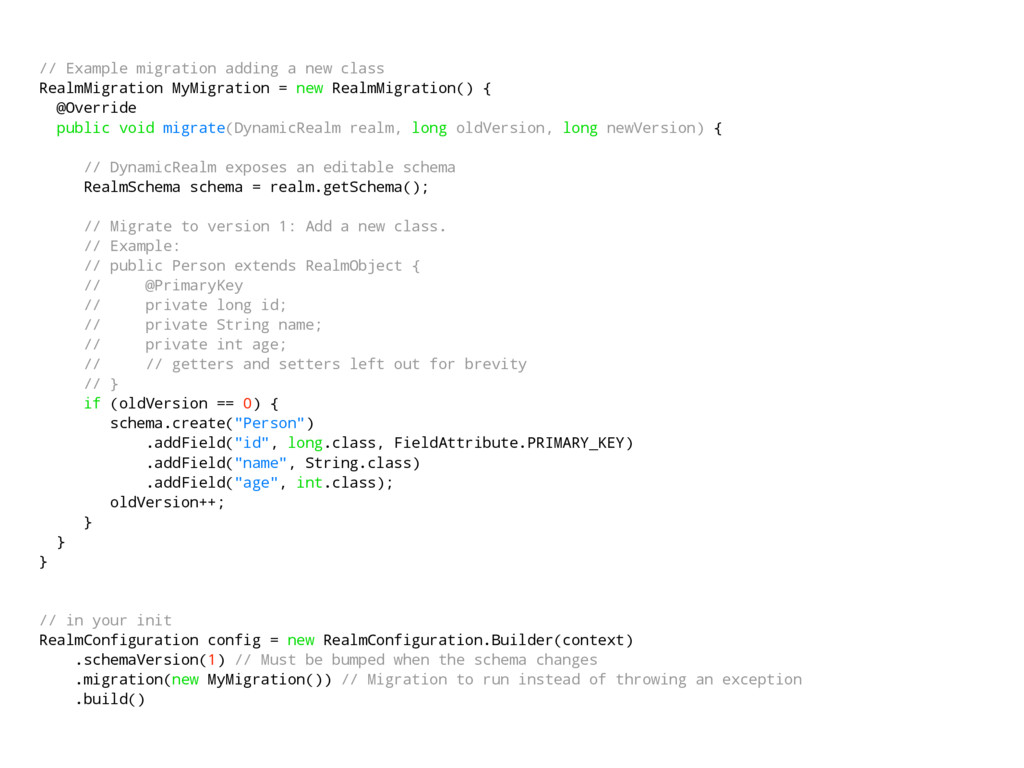 // Example migration adding a new class RealmMi...