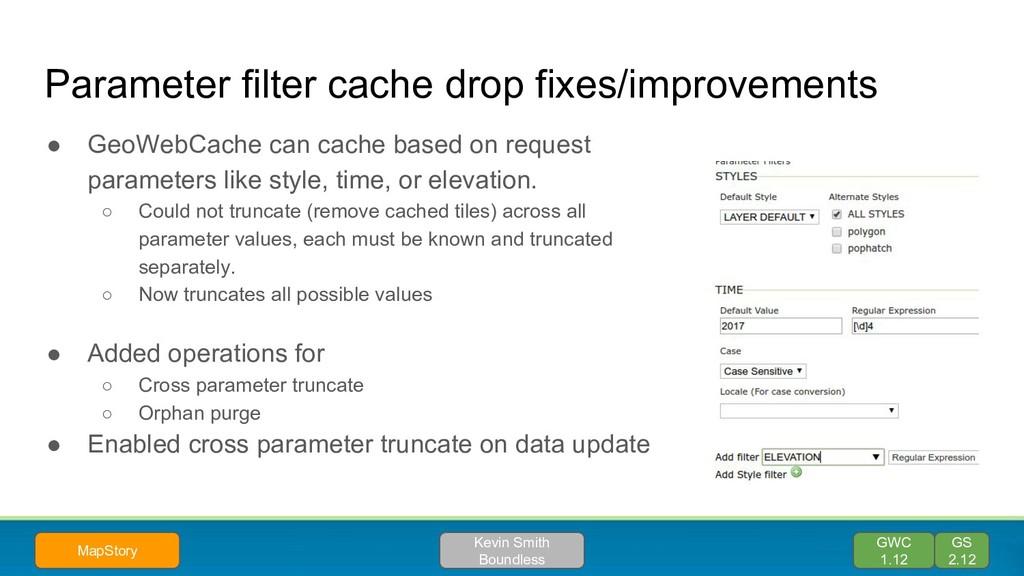 Parameter filter cache drop fixes/improvements ...