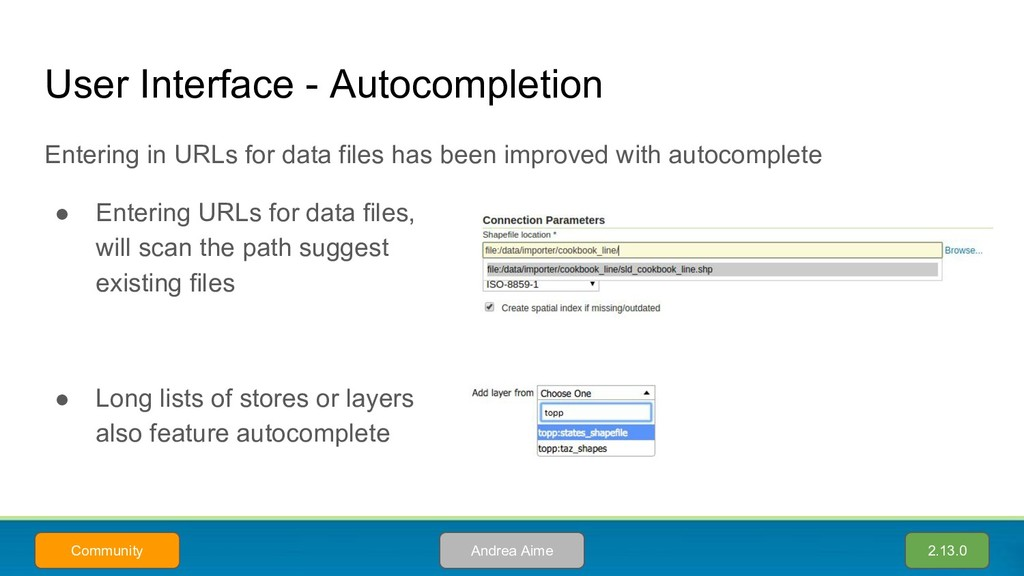 User Interface - Autocompletion Entering in URL...