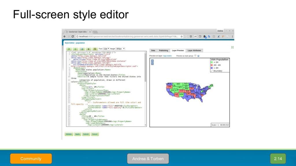Full-screen style editor Andrea & Torben Commun...