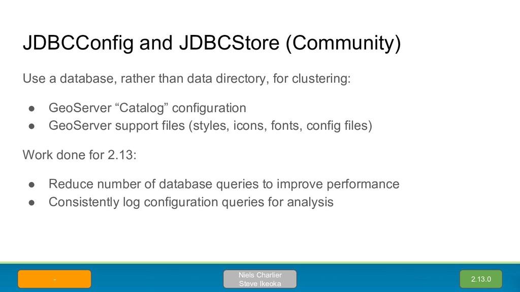 JDBCConfig and JDBCStore (Community) Use a data...