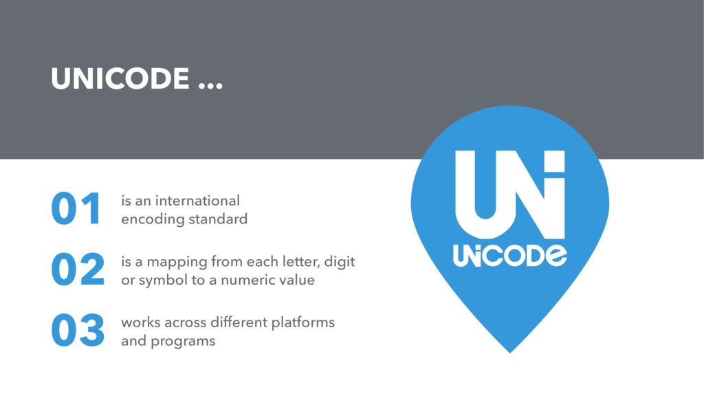 UNICODE ... is an international encoding standa...