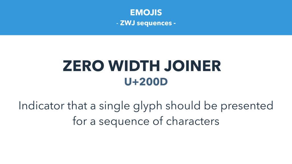 EMOJIS ZERO WIDTH JOINER U+200D Indicator that ...
