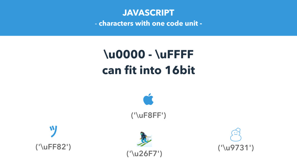 \u0000 - \uFFFF can fit into 16bit ツ ('\uFF82') ...