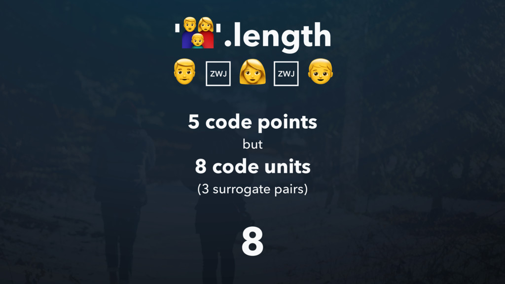 ''.length 8 5 code points but 8 code units (3 s...