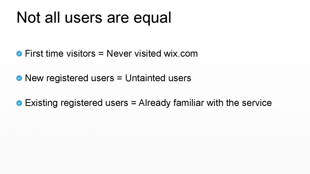 First time visitors = Never visited wix.com  N...