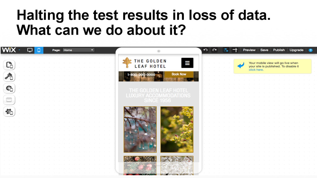 Halting the test results in loss of data. What ...