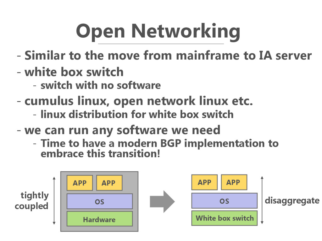 Open Networking - Similar to the move from main...
