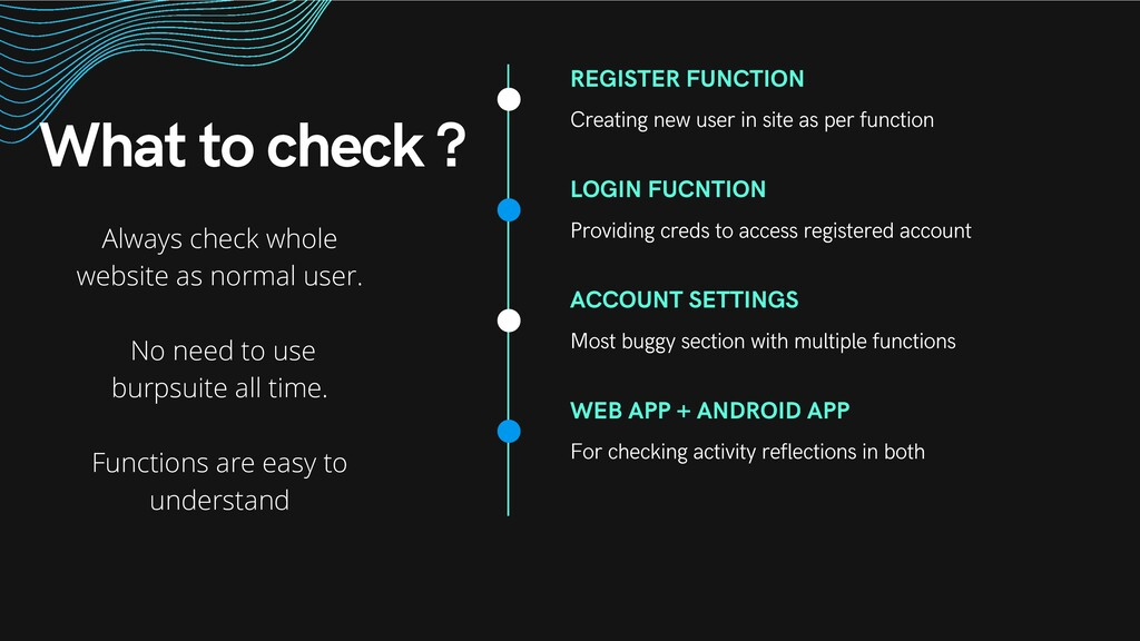 What to check ? REGISTER FUNCTION Creating new ...