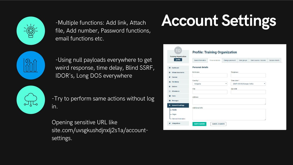 Account Settings -Multiple functions: Add link,...