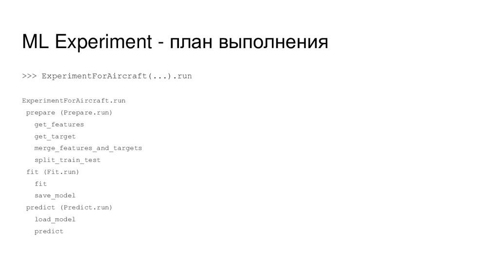 ML Experiment - план выполнения >>> ExperimentF...