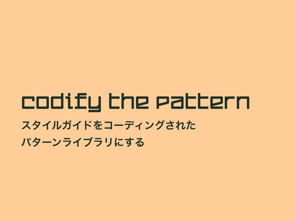 Codify the Pattern ελΠϧΨΠυΛίʔσΟϯά͞Εͨ ύλʔϯϥΠϒϥϦʹ...