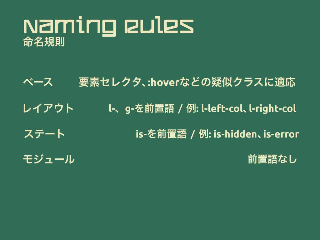 Naming Rules ໋໊نଇ ϕʔε ཁૉηϨΫλɺ :hoverͳͲͷٙΫϥεʹదԠ...