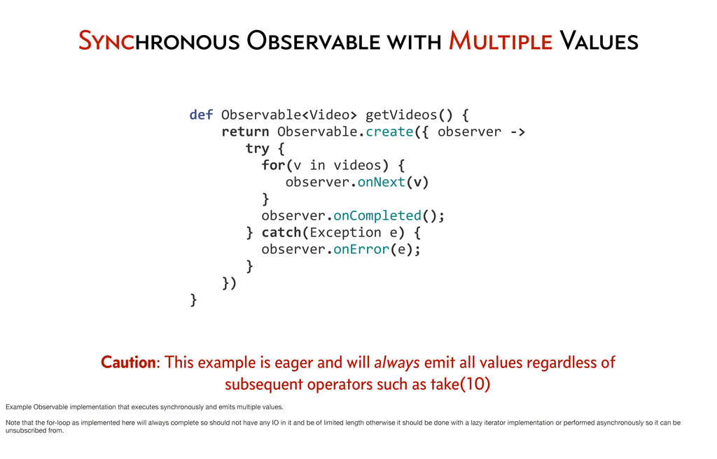 Synchronous Observable with Multiple Values 	