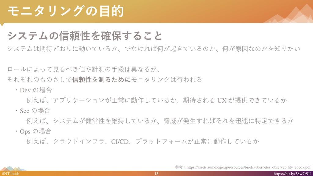 13 #NTTtech https://bit.ly/38w7r9U モニタリングの目的 シス...