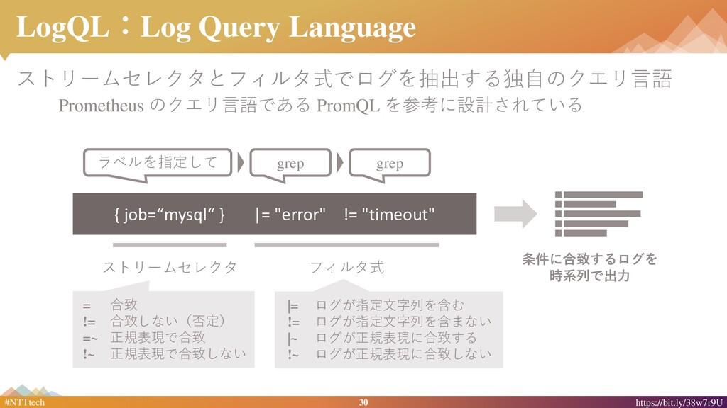 30 #NTTtech https://bit.ly/38w7r9U LogQL:Log Qu...