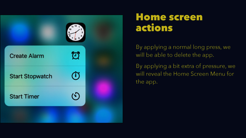 Home screen actions By applying a normal long p...