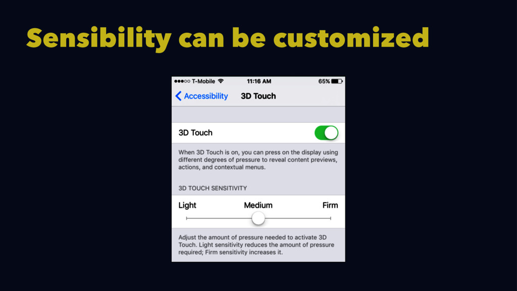 Sensibility can be customized