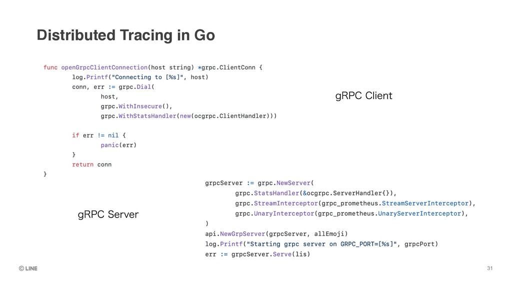 Distributed Tracing in Go 31 H31$$MJFOU H31$4...