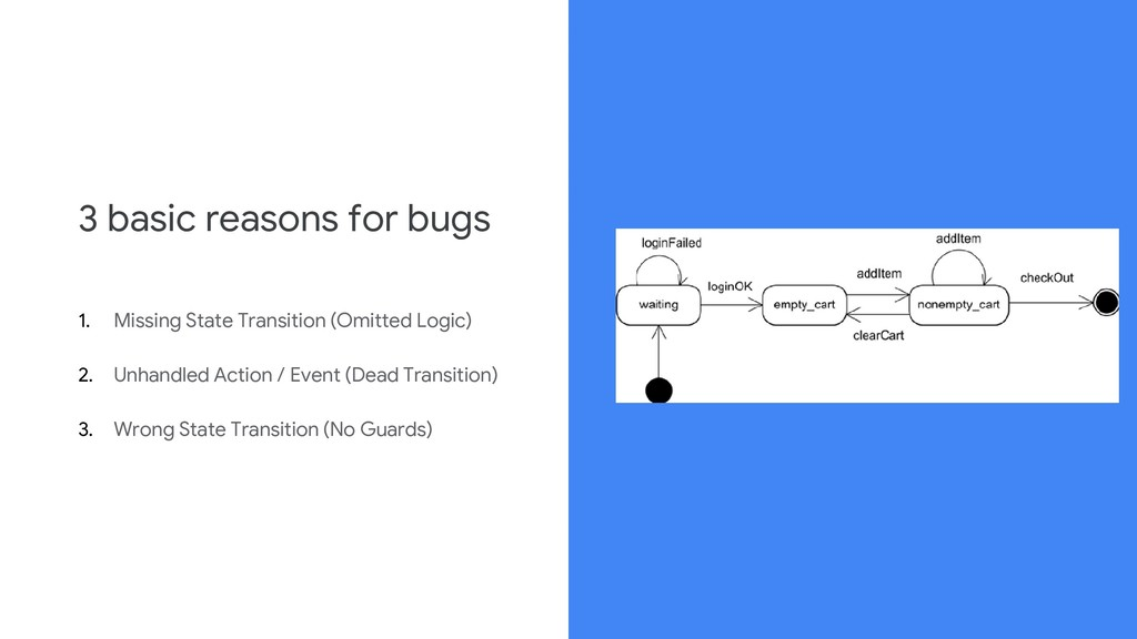 3 basic reasons for bugs 1. Missing State Trans...