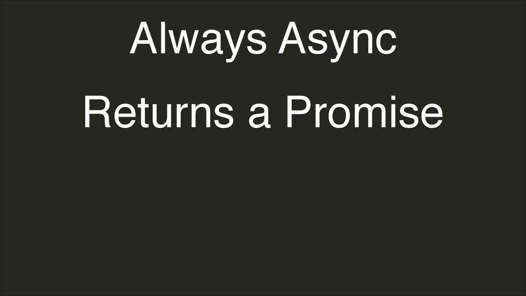 Always Async Returns a Promise