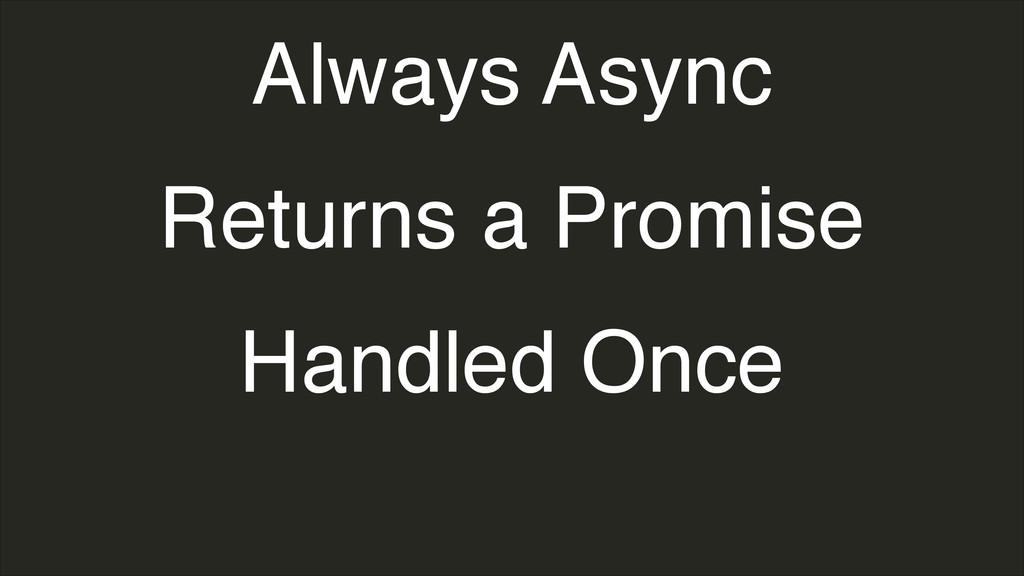 Always Async Returns a Promise Handled Once