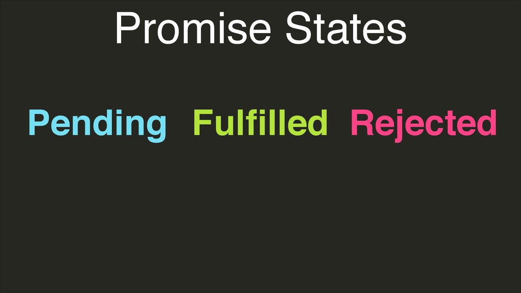 Promise States Pending Fulfilled Rejected