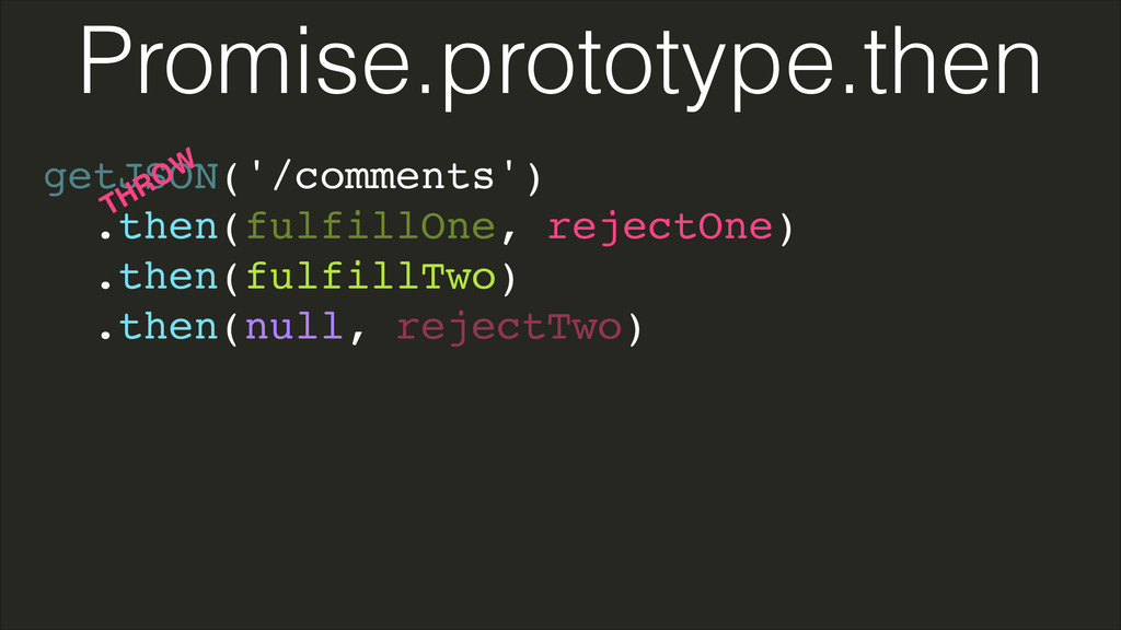 getJSON('/comments')! .then(fulfillOne, rejectO...