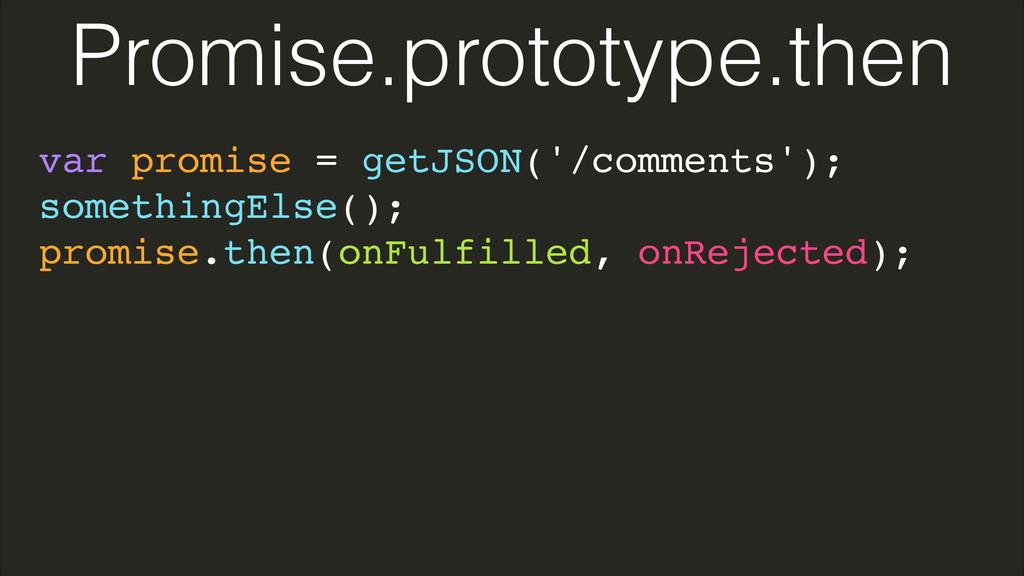 var promise = getJSON('/comments');! somethingE...