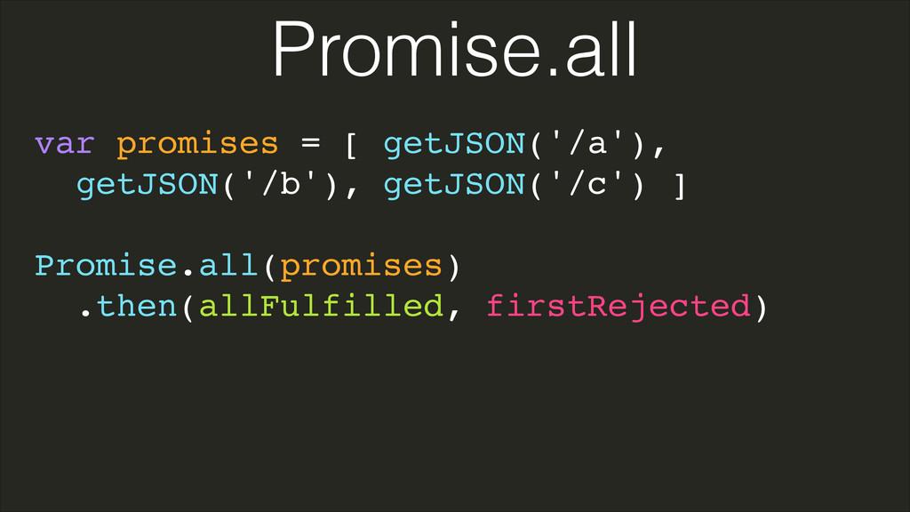 var promises = [ getJSON('/a'),! getJSON('/b'),...