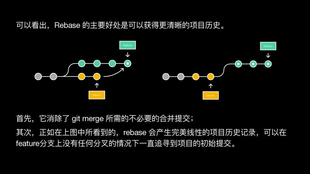 ⾸先,它消除了 git merge 所需的不必要的合并提交;  其次,正如在上图中所看到的,r...