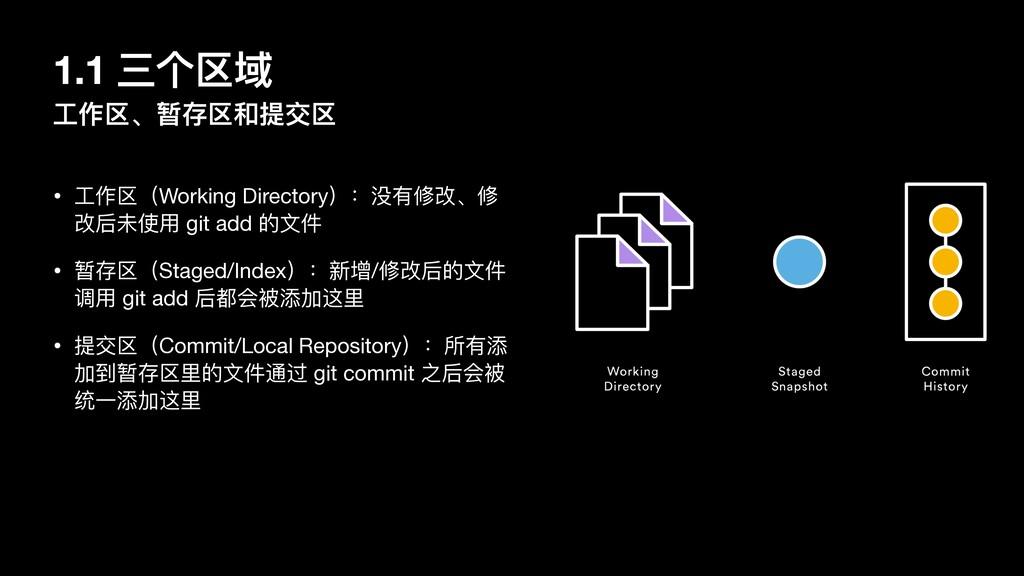 1.1 三个区域 ⼯作区、暂存区和提交区 • ⼯作区(Working Directory):没...