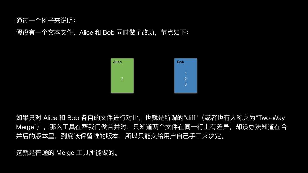 通过⼀个例⼦来说明:  假设有⼀个⽂本⽂件,Alice 和 Bob 同时做了改动,节点如下: ...