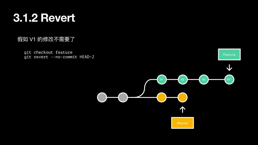 3.1.2 Revert git checkout feature git revert --...