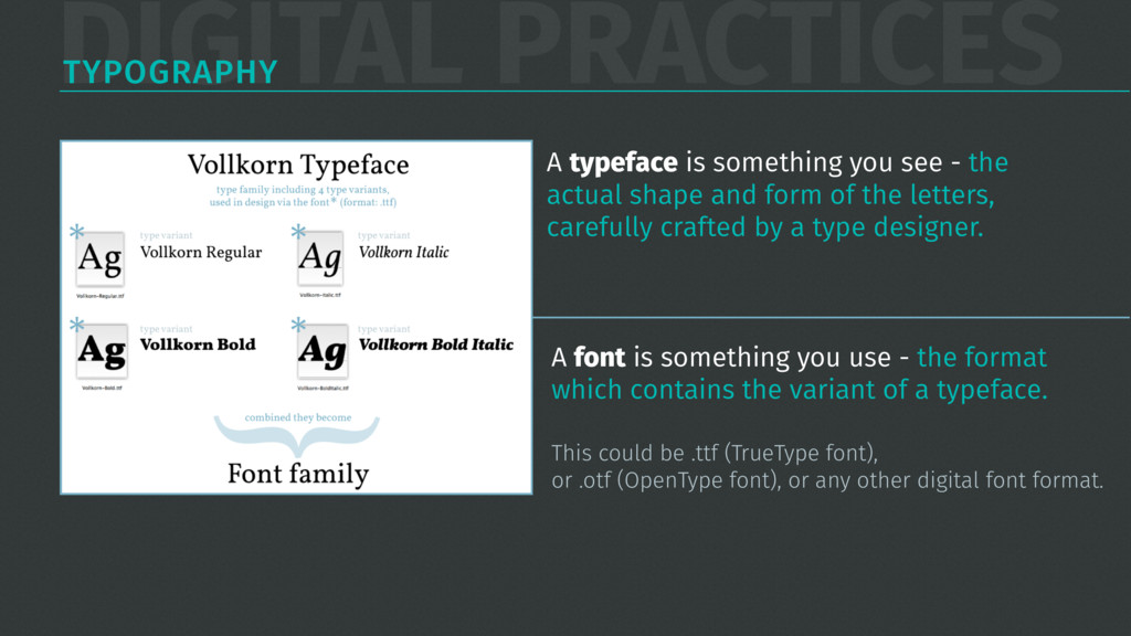 DIGITAL PRACTICES TYPOGRAPHY A typeface is some...