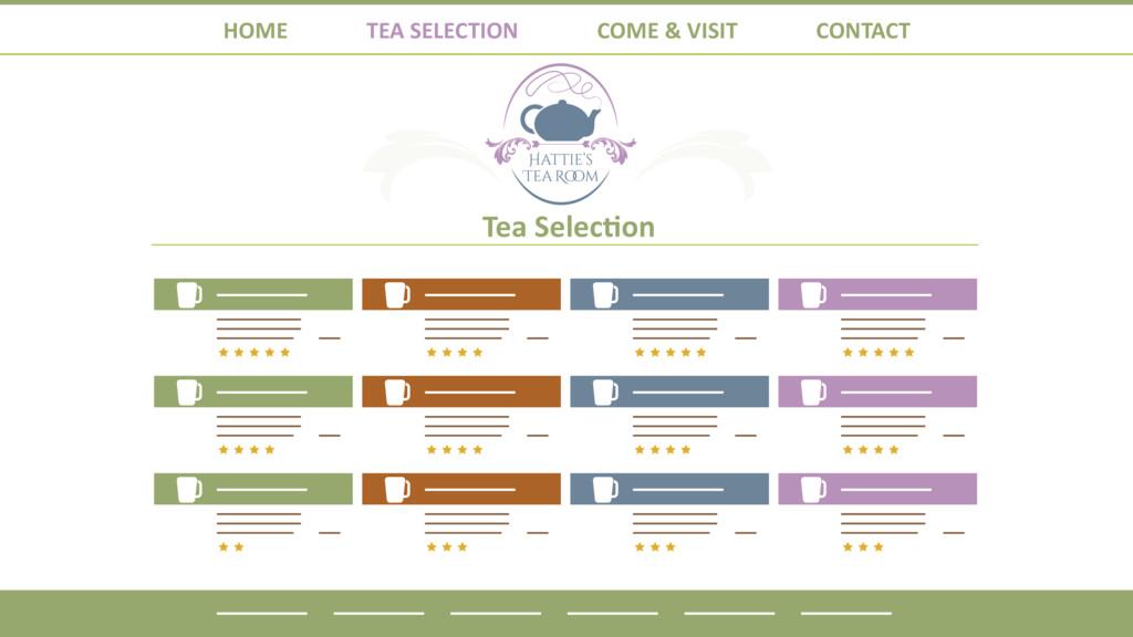 HOME TEA SELECTION COME & VISIT CONTACT Tea Sel...