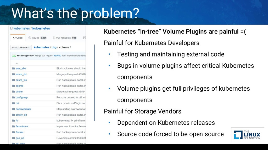 """What's the problem? Kubernetes """"In-tree"""" Volume..."""