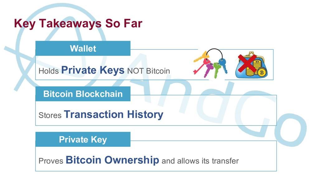 Key Takeaways So Far Holds Private Keys NOT Bit...