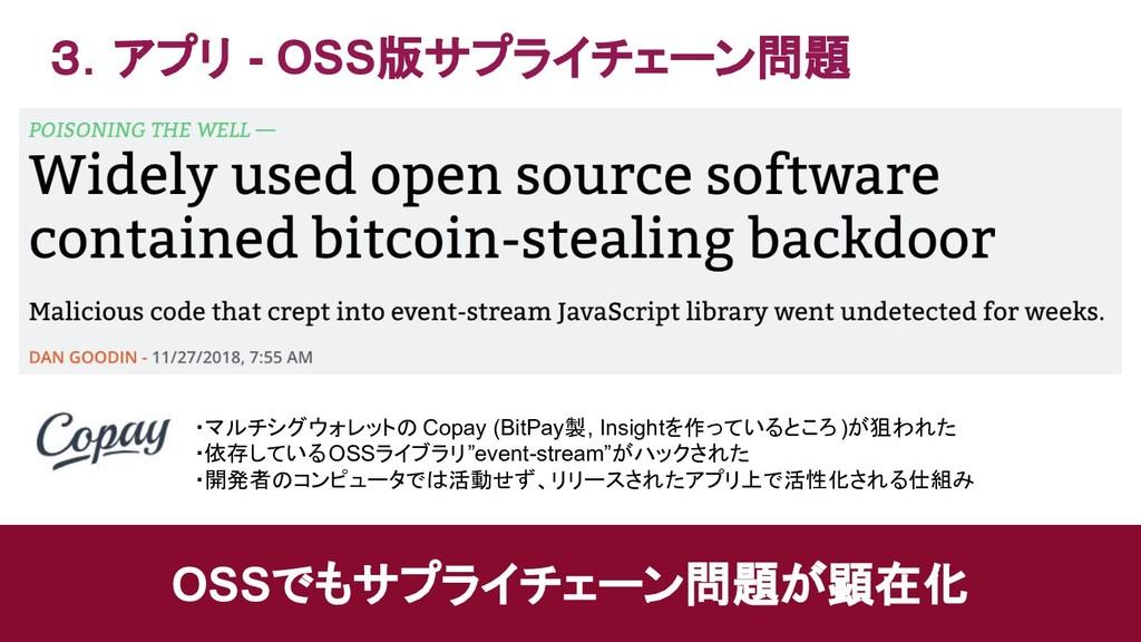 3.アプリ - OSS版サプライチェーン問題 OSSでもサプライチェーン問題が顕在化 ・マルチ...