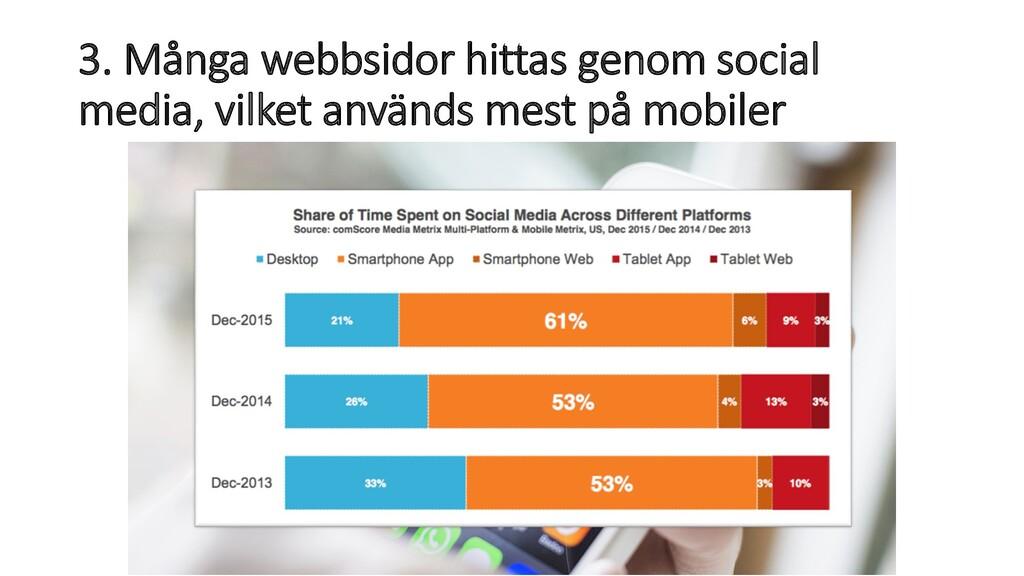 3. Många webbsidor hittas genom social media, v...